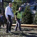 Governor Charlie Baker (left) and MEMA director Kurt Schwartz surved damaged caused by tornado in Concord.