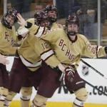 Boston MA 3/17/19 Boston College High Declan Loughnane (right) celebrates with his teammates after scoring the game winning goal against Pope Francis High during the fourth overtime period of the MIAA D1A boys' Hockey State Championship at TD Garden. (photo by Matthew J. Lee/Globe staff) topic: reporter: