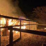 The fire raged at Flatpoint Farm in West Tisbury.