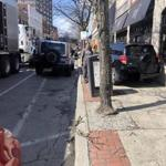 A motorist in Quincy decided to use the sidewalk as a detour on a recent Wednesday afternoon.