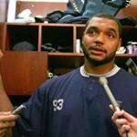 Foxborough, MA 11/13/06 New England Patriots Richard Seymour answers questions by the media in front of his locker during a press conference at Gillette Stadium on Monday Nov. 13, 2006. (Matthew J. Lee/Globe Staff) Library Tag 11142006 Sports BCNYT
