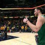 Indiannapolis, IN - 4/21/2019 - (4th quarter) Boston Celtics forward Gordon Hayward (20) gives the thumbs up as he heads off the court. The Indiana Pacers host the Boston Celtics in Game 4 of Round 1 of the Eastern Conference Playoffs at Bankers Life Field House. - (Barry Chin/Globe Staff), Section: Sports, Reporter: Adam Himmelsbach, Topic: 22Celtics-Pacers, LOID: 8.5.1054786590.
