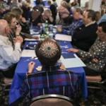 Brighton, MA--04/22/2019--A Passover seder was held at 2Life Communities senior housing in Brighton, MA on Monday afternoon. Residents had the chance to speak on what they hoped for in our world. (Nathan Klima for The Boston Globe) Topic: xxexodustales Reporter: