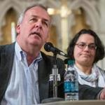 Renny Cushing, left, and Julia Rodriguez spoke at an event hosted by Amnesty International USA at the Old South Church in Boston on