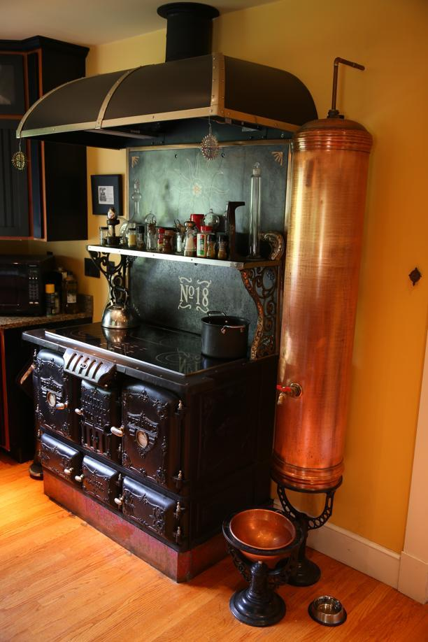 The boston globe painted lady in sharon with steampunk for Kitchen designs steampunk