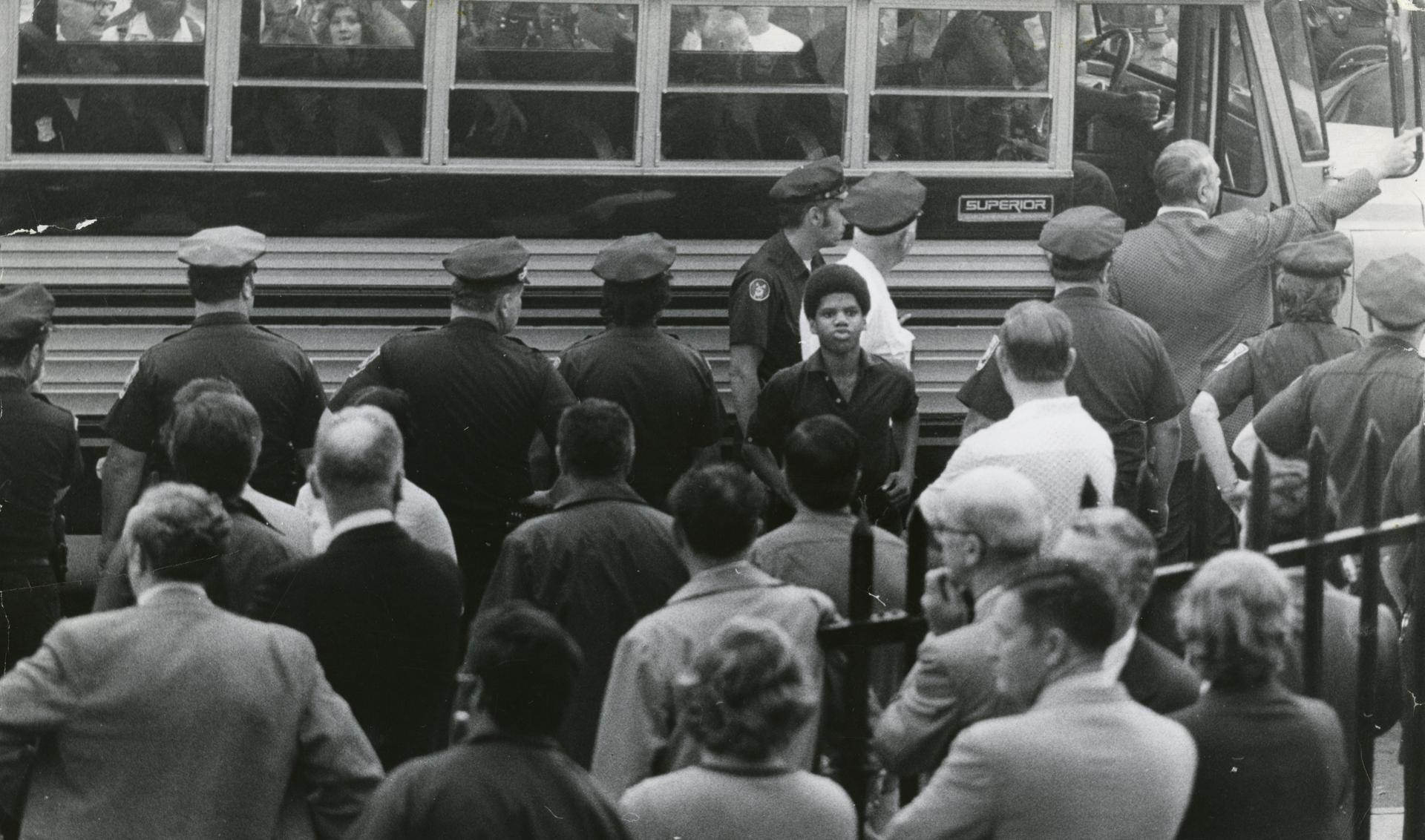 history rolled in on a yellow bus the boston globe