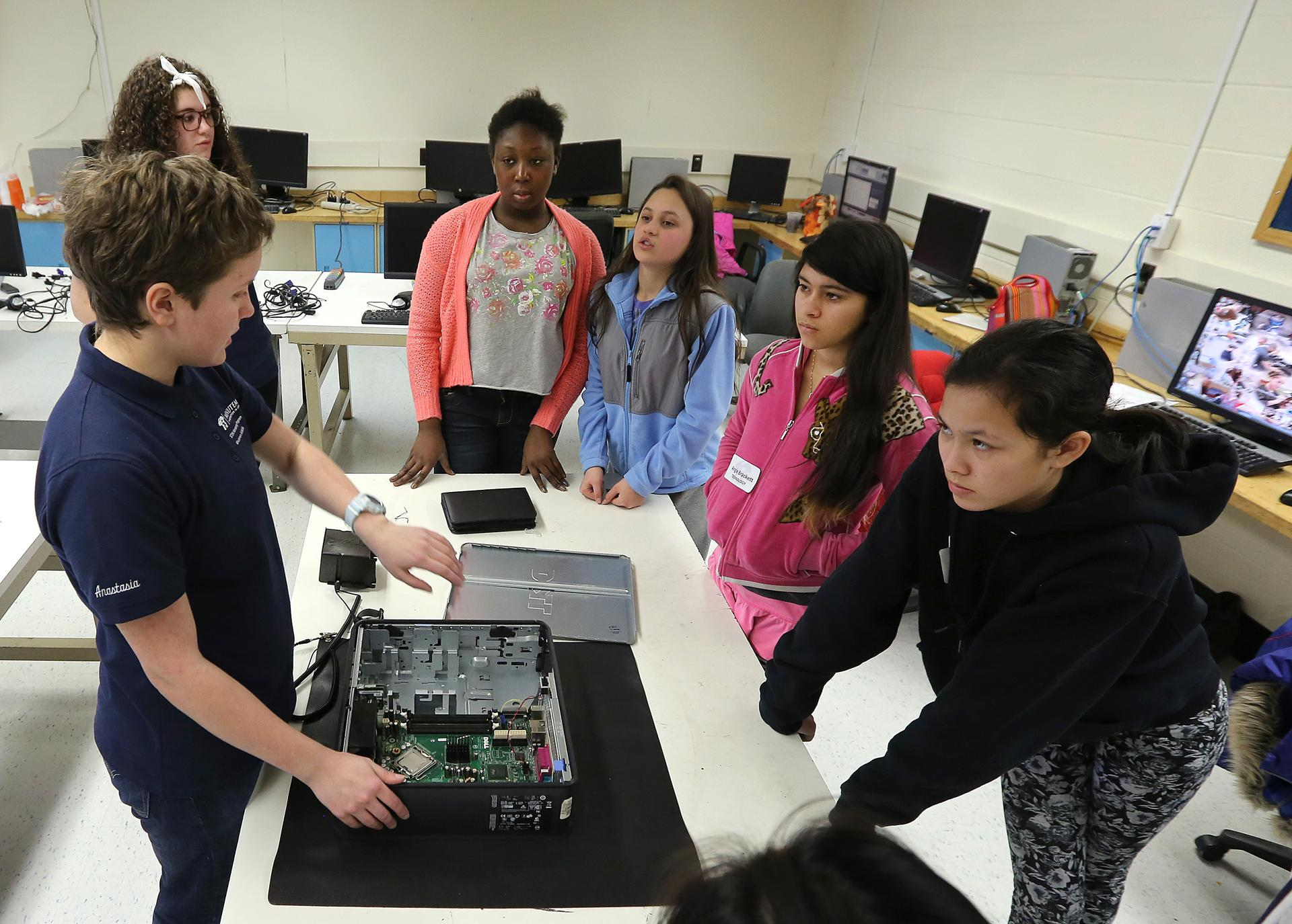Anastasia Monich spoke about computers at the vacation week camp held in Minuteman High School.