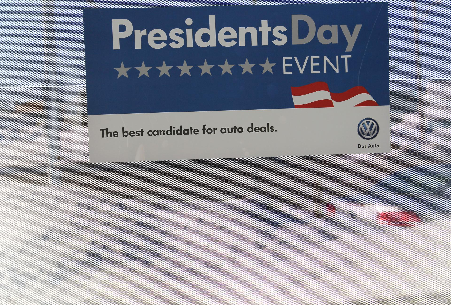 Cars and snow filled the lot at colonial volkswagen in medford which is still advertising