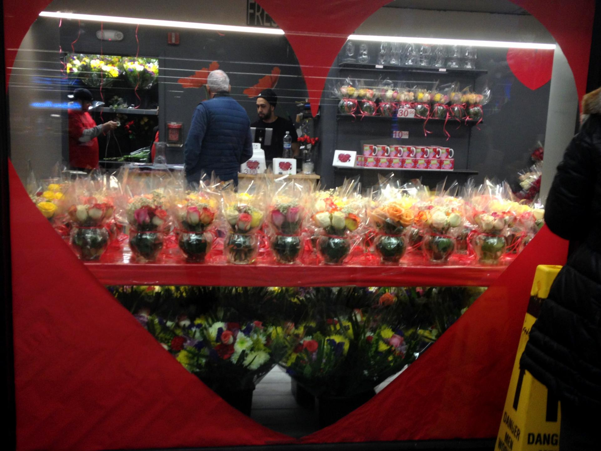 09mothersday - The Abel family's flower shop in Penn Station on Valentine's Day. (David Abel/Globe Staff)
