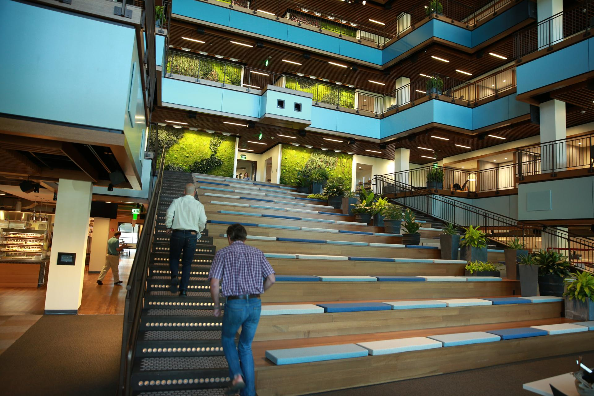In Needham, TripAdvisor's staircase serves as an event space, too.
