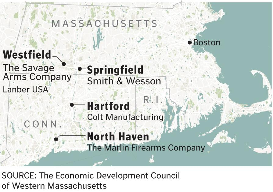 For Gunmakers In Springfield Its Just Another Job The Boston - Gun manufactoring factories in the us map