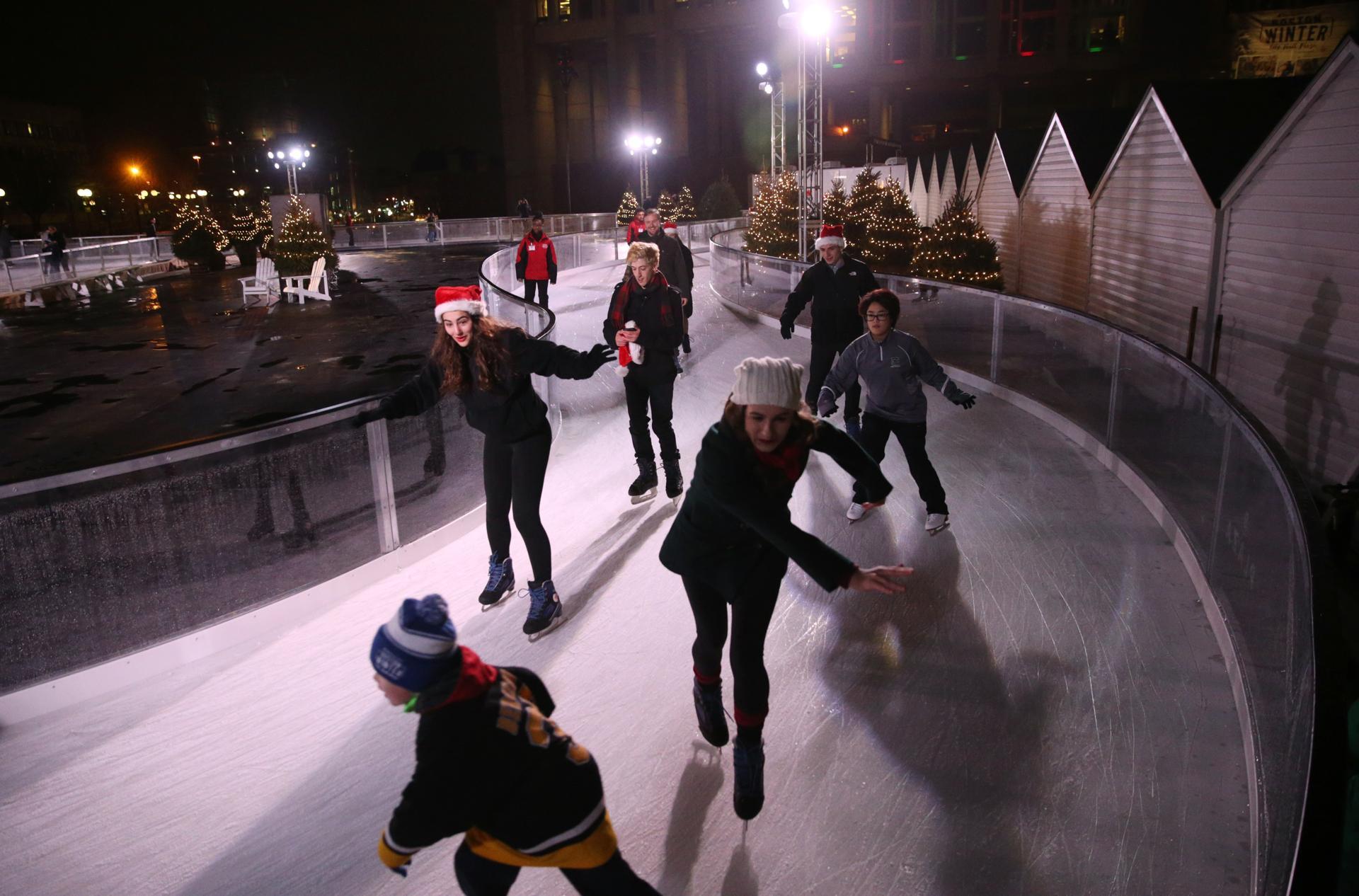 after delay boston winter opens on city hall plaza the boston globe