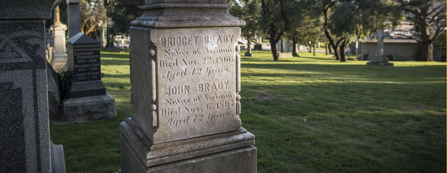 Two headstones at Holy Cross Cemetery in northern California are memorials to John and Bridget Brady, onetime Bostonians who helped give Tom Brady the gift of life.
