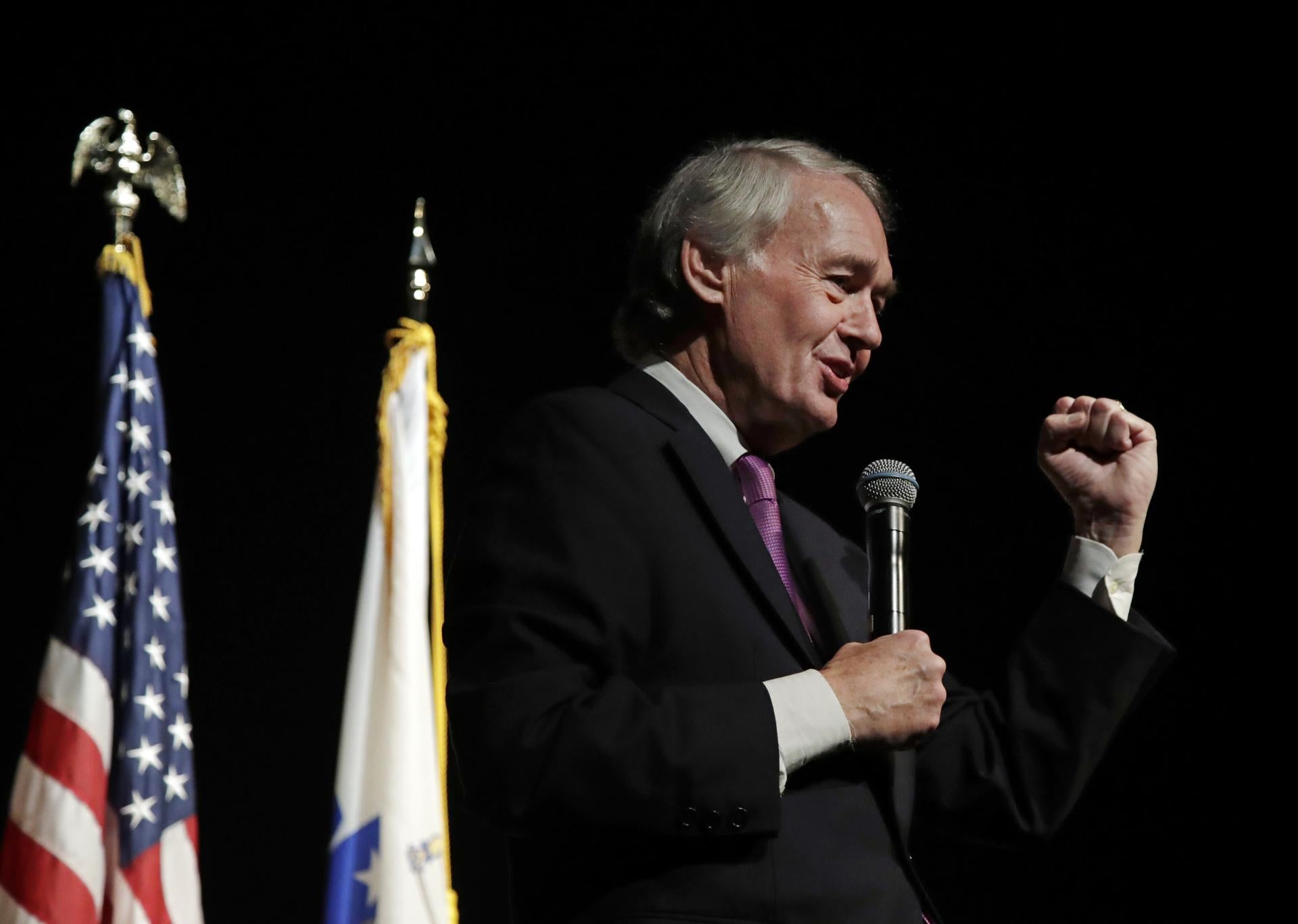 """""""The weapons that we have already can do the job,'' said Senator Edward Markey. Above: Markey addressed constituents last week in Boston."""