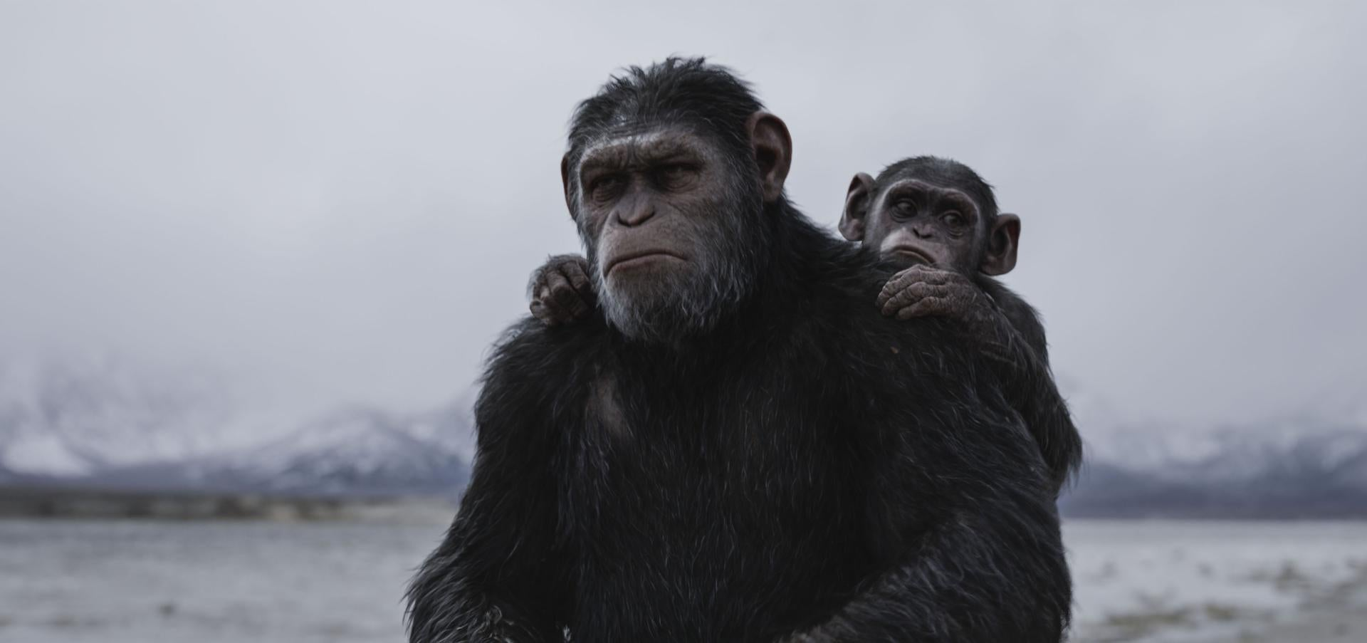 """Andy Serkis as Caesar (with Devyn Dalton as Cornelius) in """"War for the Planet of the Apes."""""""