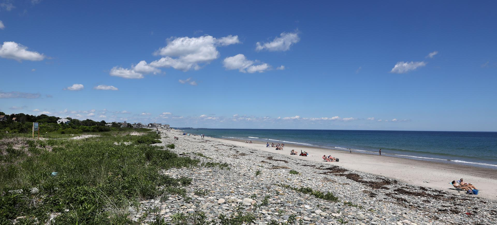 Marshfield, MA - 6/26/2017 - Old Rexhame Beach A controversy ensues about which residents, in the Rexhame Terrace subdivision of Marshfield, have the right to use certain private streets and the private beach. Earlier in the morning, Barbara Bennett (cq) (not shown) appeared in Plymouth District Court for a pretrial status hearing. Her charges stem from her alleged act of releasing two pit bulls on her neighbor Kathy Lavrentios (cq). Photo by Pat Greenhouse/Globe Staff Topic: rexhameterrace Reporter: Dugan Arnett