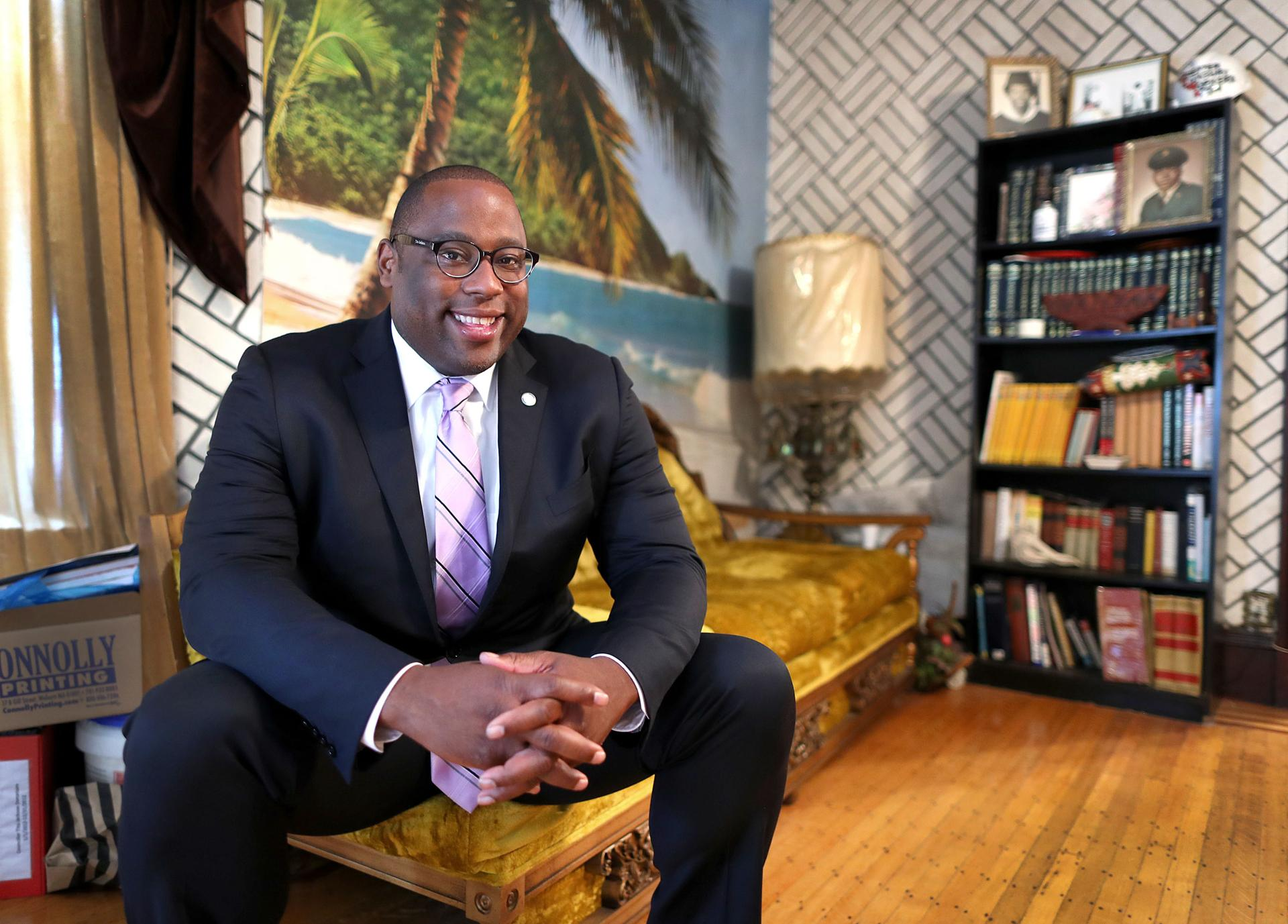 Boston mayoral candidate Tito Jackson in his living room.