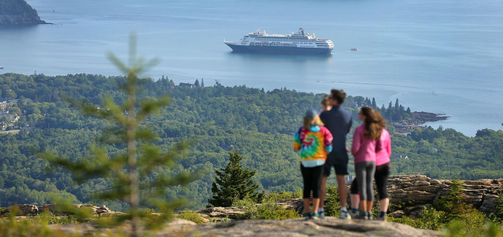 This view from Cadillac Mountain in Acadia National Park includes the cruise ship Maasdam anchored in Bar Harbor.