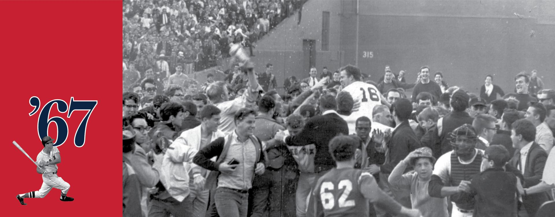 Red Sox pitcher Jim Lonborg was swept away by excited fans after Boston defeated the Minnesota Twins to clinch at least a tie for the American League pennant.