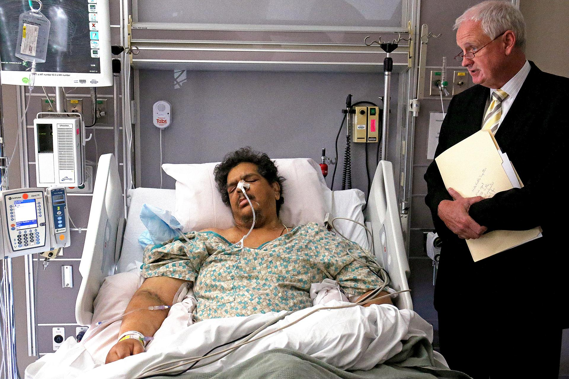 Walter Rice was arraigned Friday at Morton Hospital in Taunton, with defense attorney James Murphy at his side.