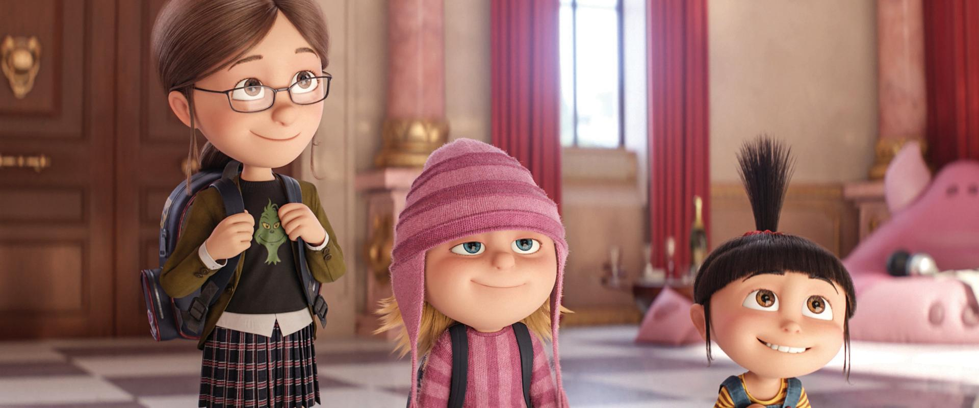 (L to R) Margo (MIRANDA COSGROVE), Edith (DANA GAIER) and Agnes (NEV SCHARREL) in the 2017 animated film DESPICABLE ME 3, directed by Pierre Coffin, Kyle Balda.