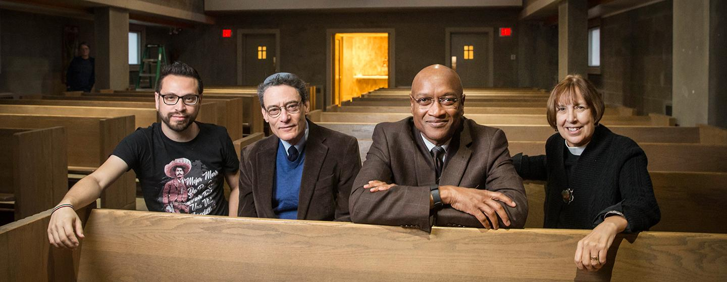 From left: Harvard Divinity graduate Nestor Pimienta, Rabbi Victor Reinstein of Nehar Shalom Community Synagogue, the Rev. Ray Hammond, and the Rev. Kathleen O'Keefe Reed, at University Lutheran Church, represent groups supporting two sanctuary efforts.