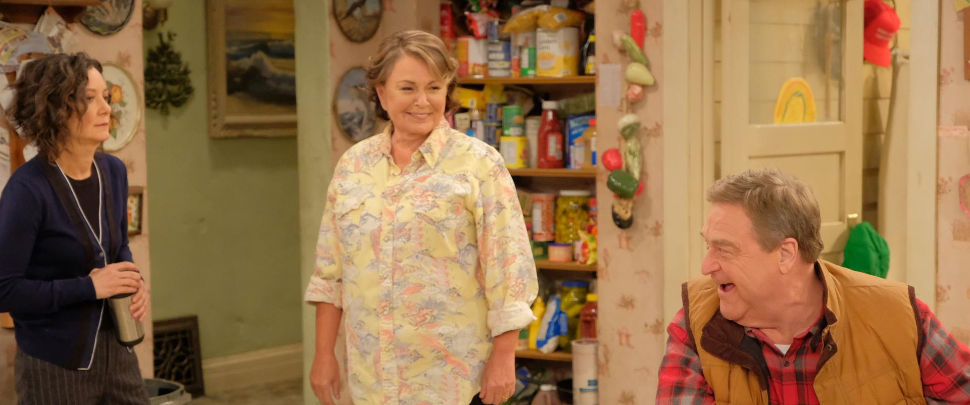 "From left: Sara Gilbert, Roseanne Barr, and John Goodman reprise their original roles in ABC's revival of the comedy series ""Roseanne."""