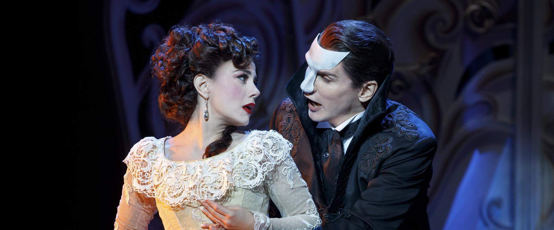 "Meghan Picerno, as Christine, and Gardar Thor Cortes, as the Phantom, in ""Love Never Dies,"" the sequel to Andrew Lloyd Webber's ""The Phantom of the Opera."""