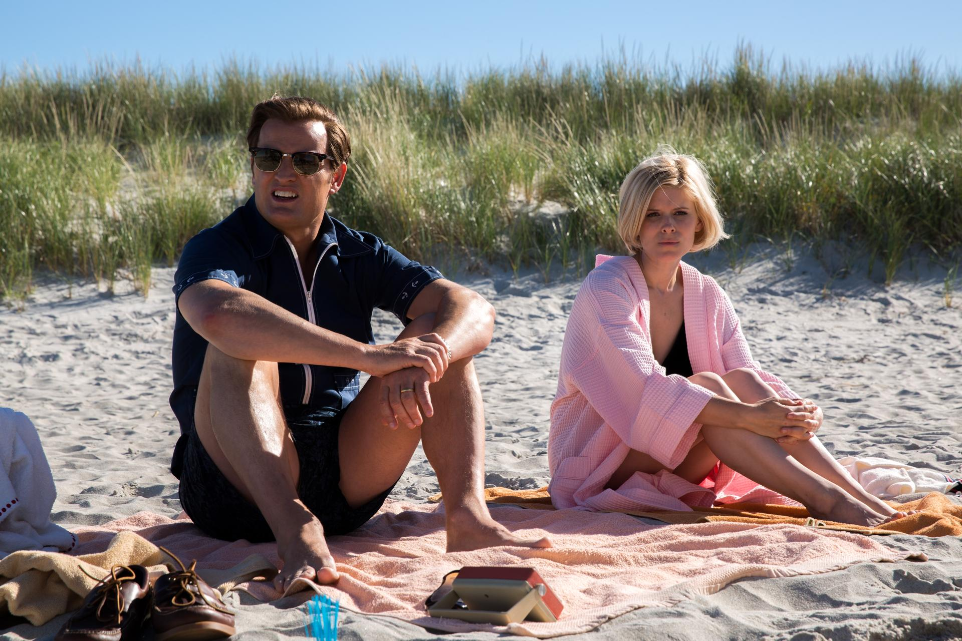 "Jason Clarke stars as Ted Kennedy and Kate Mara as Mary Jo Kopechne in the film ""Chappaquiddick."""