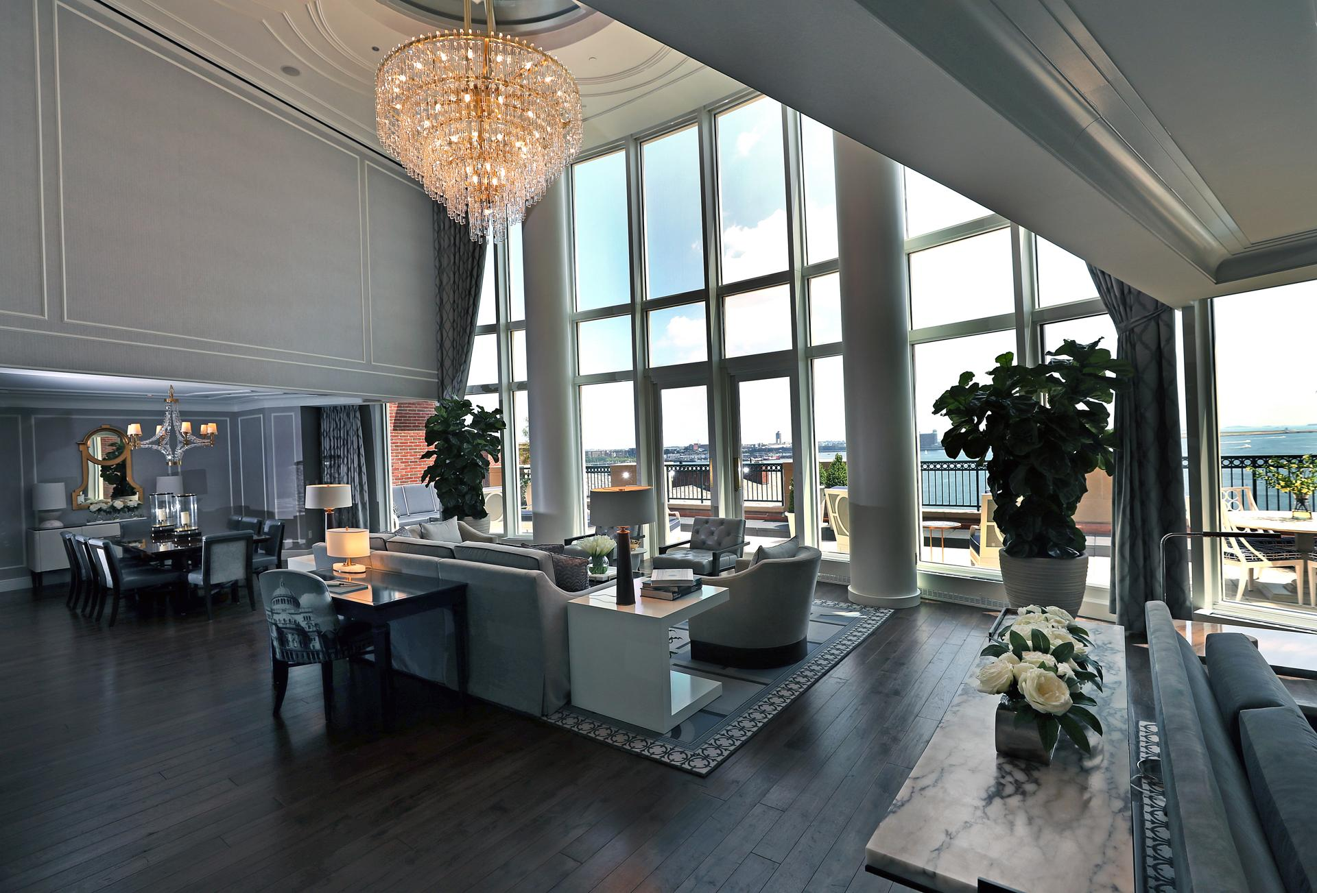 The main living area of the new, $15,000-a-night Presidential Suite at the Boston Harbor Hotel in Boston. This is now the most expensive hotel room in Boston.