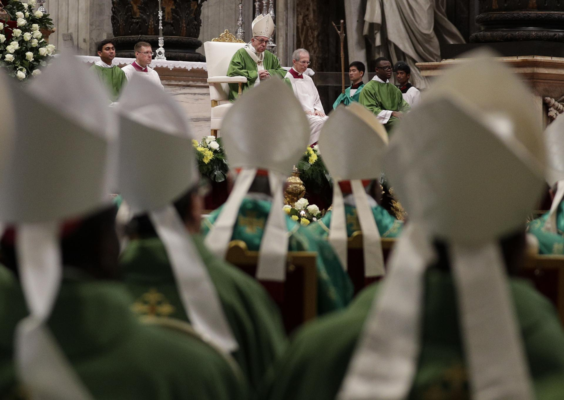Pope Francis celebrated a Mass for the closing of the synod of bishops in St. Peter's Basilica at the Vatican on Sunday