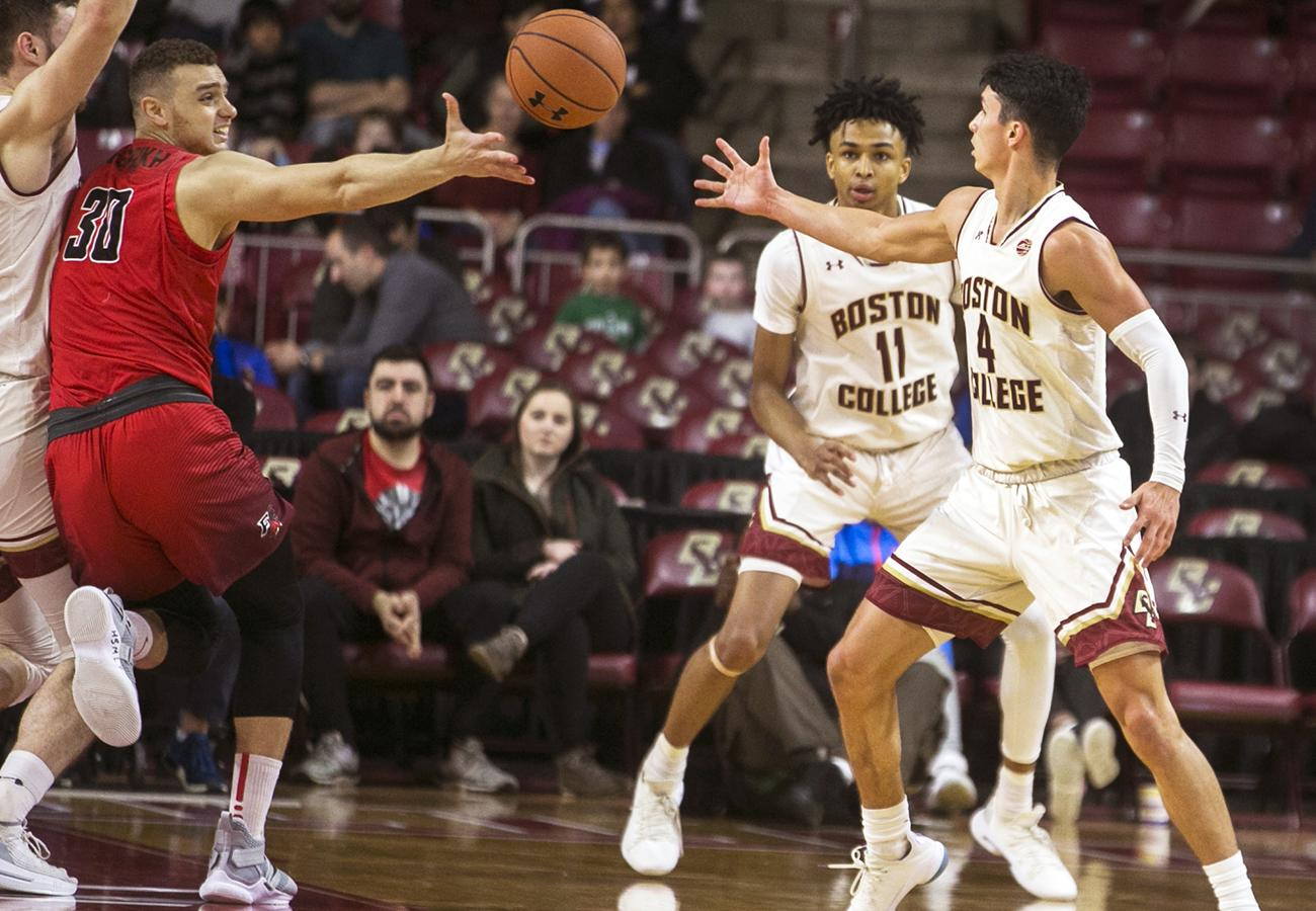 Chris Herren Jr. (right) and Vin Baker Jr. (second from right) in action for BC against Fairfield.