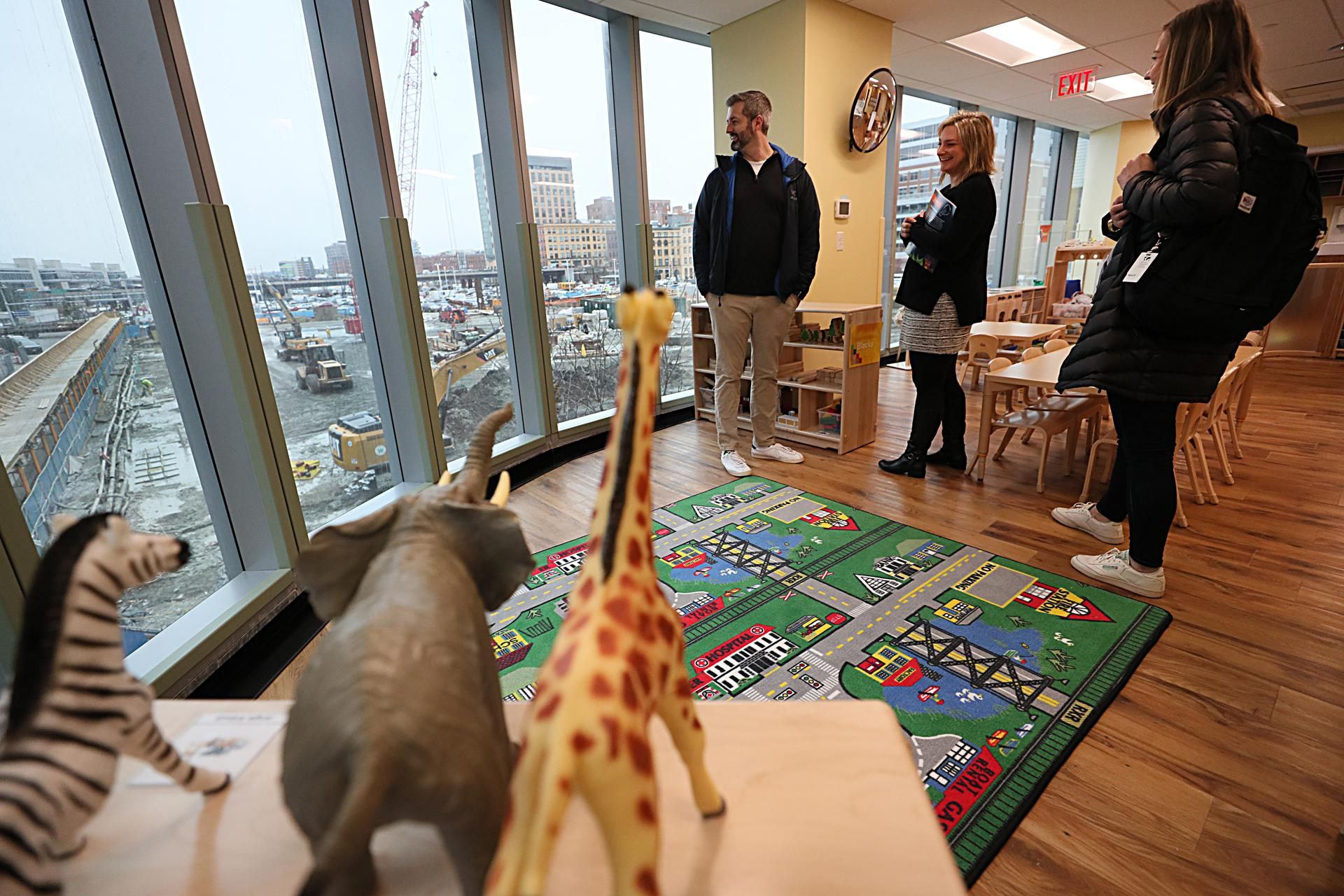 A KinderCare is opening soon as the Seaport District takes shape outside its windows.