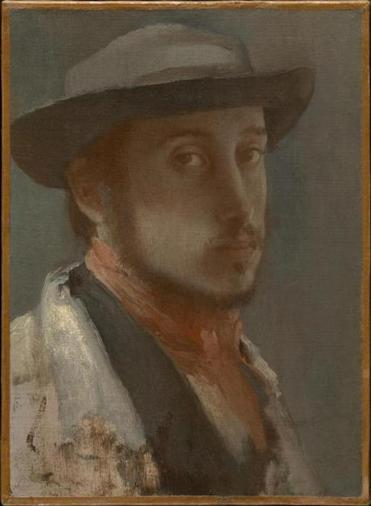A self-portrait in oil of a young Edgar Degas in 1857. The artist died at age 83 in 1917.