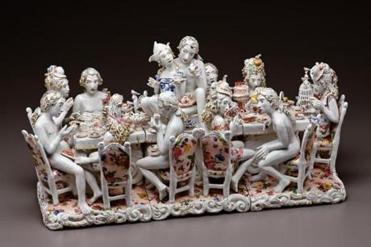 for G - 08todo - Chris Antemann, Tea Party, 2010. Porcelain, decals, luster. Kamm Teapot Foundation Collection. (Courtesy of Ferrin Gallery)