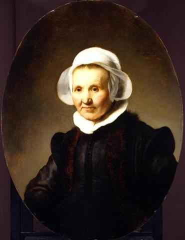 """Portrait of Aeltje Uylenburgh,'' a Rembrandt from the Rose-Marie and Eijk van Otterloo Collection showing at the Museum of Fine Arts, hangs near a Rembrandt of the MFA's."