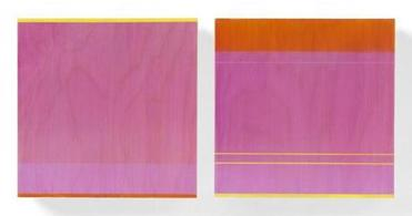 "ROSE OLSON, Moving Mist, 2011, diptych, acrylic on Baltic Birch veneer, 12 x 26 x 3"" 21galler"