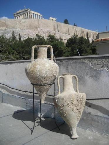 Researchers took DNA from these amphorae found off the Greek coast.