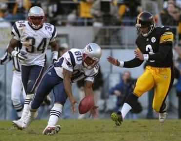Troy Brown's 55-yard punt return for a touchdown helped defeat the Steelers on Jan. 27, 2002.