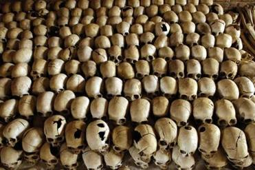 Skulls of genocide victims at the memorial at the Nyamata church.