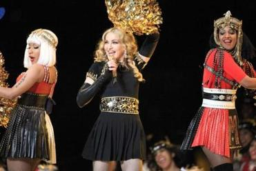 Nicki Minaj, Madonna, and M.I.A. performed during the halftime Show at Lucas Oil Stadium in Indianapolis.
