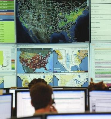 EnerNOC's monitoring wall, at its operations center.