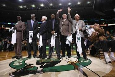 Members of the 1962 Celtics team from left, Tom Sanders, Bill Russell, Frank Ramsey, Sam Jones, Tom Heinsohn, Bob Cousy, and Jim Loscutoff were honored April 18, 2012 at the TD Garden, on the 50th anniversary of Boston's game 7 win over the Los Angeles Lakers to win the NBA championship.