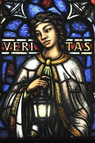 "A detail of ""Veritas,'' donated by a Wellesley alumna."
