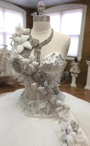 The Bodice Of Gypsy Wedding Dress Priced At 20 000 With Swarovski Crystal