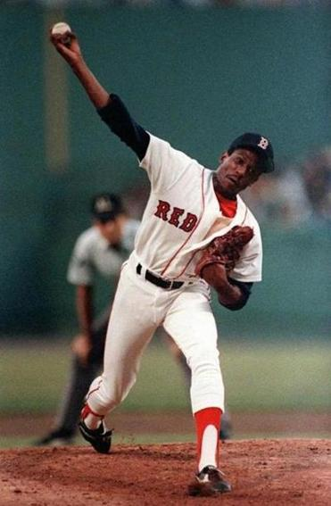 "Dennis ""Oil Can"" Boyd pitching at Fenway Park for the Red Sox in 1986."