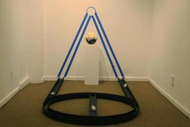 "Marlon Forrester's installation ""Enthroned Basketball.''"