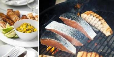 The grilled salmon is served with mango, chili, and lime salsa.