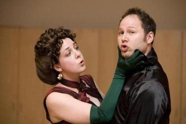 "Brittany Duncan and Daniel Erbe in ""L'Heure Espagnole."""
