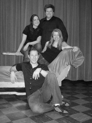 Operahub members (clockwise from front) J. Jacob Krause, Brittany Duncan, Jordan Rodu, and Cabiria Jacobsen.